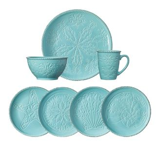 This Pfaltzgraff Malibu Dinnerware Set features bright teal stoneware pieces adorned with coastal filigree and seashell patterns. set service for contains ...  sc 1 st  Pinterest & 27 best dishes images on Pinterest | Casual dinnerware Dinnerware ...