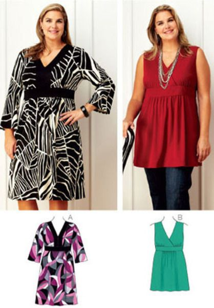 Dress & Tunic, use fabric with 35% stretch across the grain.