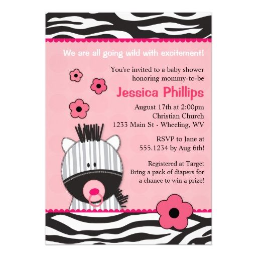 Adorable Pink Zebra Baby Shower Invitations | Zebra baby showers, Pink zebra and Shower invitations