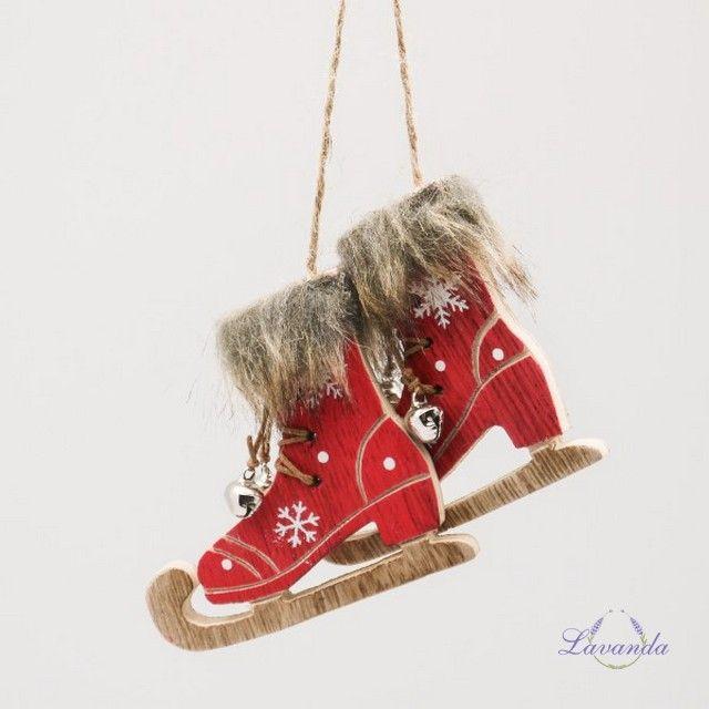 Vianočná dekorácia drevené Korčule, červené, sada 2 ks