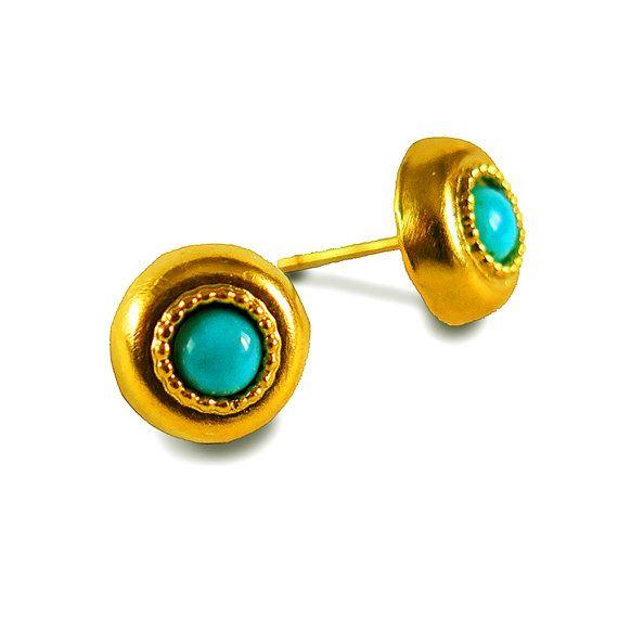 Blue Stud Earrings Gold Turquoise Earring Ethnic Bohemian Handmade Jewelry Southwestern