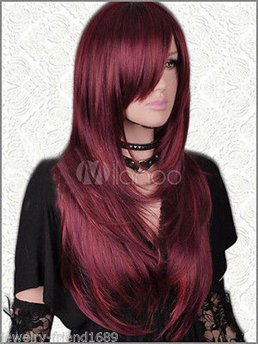 Cosplay Long Straight Dark Red Hair Wigs New Women's Wig
