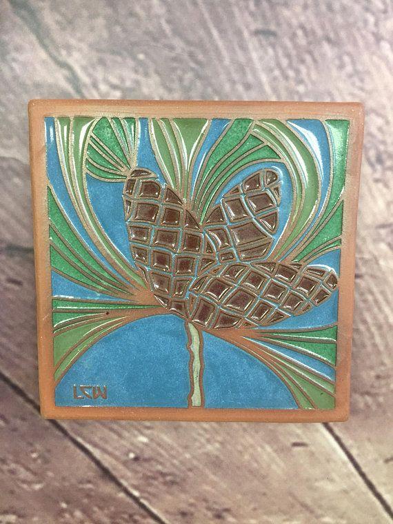 B46 Pinecones Tile Nature Home Decor Birthday Pinecones Garden Tiles Tile Collectors Yoga Artist Liberty Craft Works Garden Tiles Tiles For Sale Natural Home Decor
