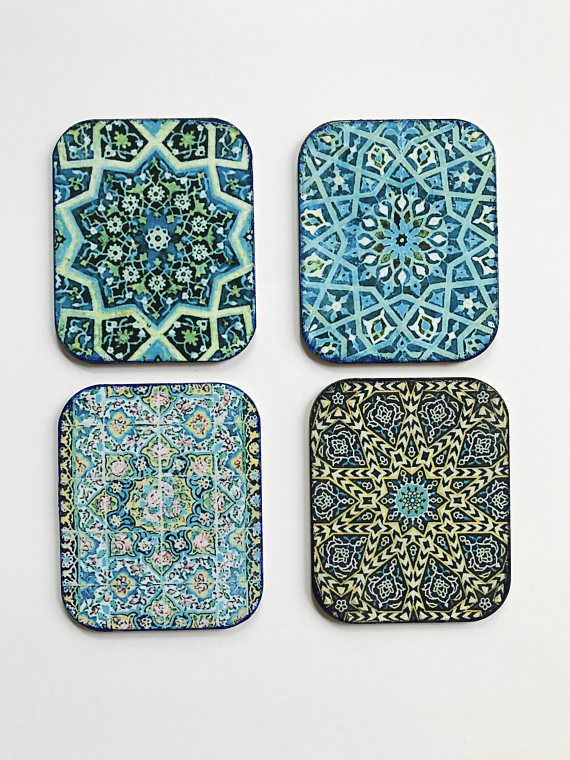 These coasters are made up of high quality MDF base and water resistant sealers. Suitable for drinks or decoration. The patterns are mostly inspired by Persian or Turkish tiles. Size: 9cm by 10cm If you are a mix and match person just send me a msg. Thanks