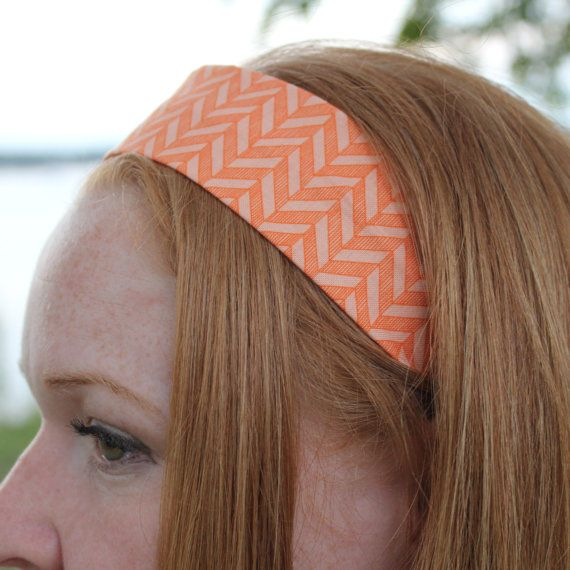 orange geometric print women's headband