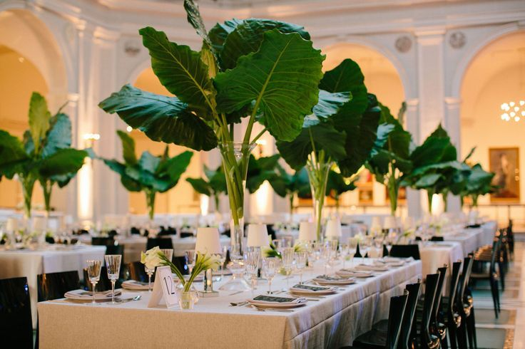 Opt out of flowers and go big with large palms! Love this look! | Frank Alexander NYC | ART DECO LUXE
