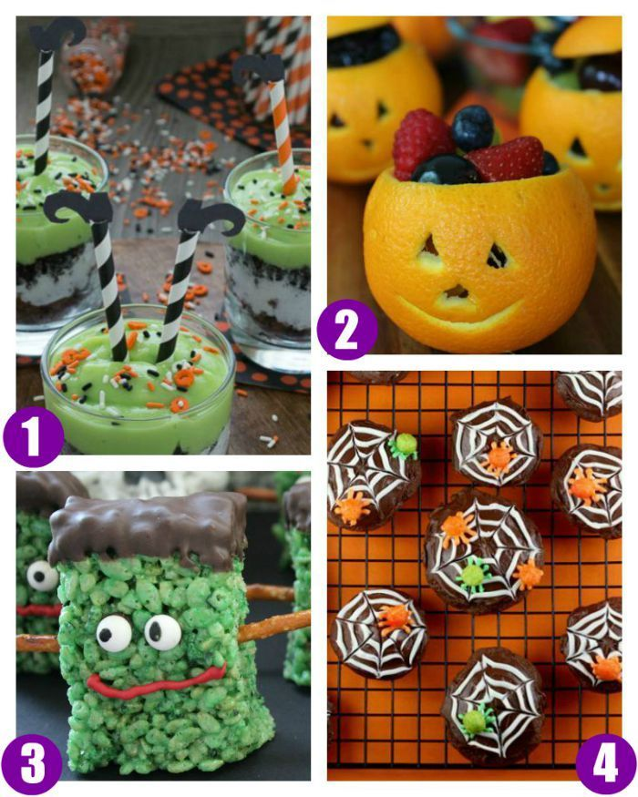 Halloween Food Crafts for Kids on Frugal Coupon Living. Classroom Snack Ideas, spooky food for kids, and October snack ideas. Halloween Snack Ideas including Melted Witch Pudding Parfaits, Orange Jack O'Lantern Fruit Cups, Spider Web Cookies, and Green Monster Marshmallow Treats.