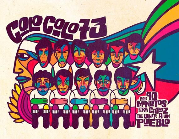 Colo Colo 73.. los indios ilustrados al estilo de esa época