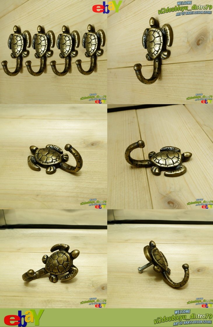 4 PCS UNUSED BRASS Vintage HOOK ANTIQUE TURTLE HOOK Coat Wall Mount, Lovely and GREAT GIFT for your wall hanging stuff or home decor. #flyer #Hook #Drawer #Brass #Antique #Vintage