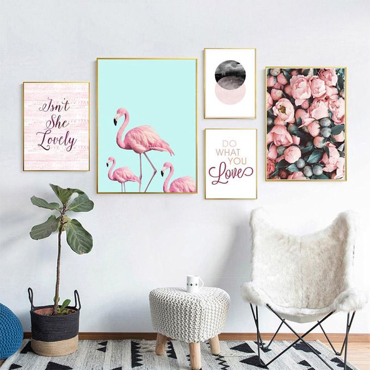 Nordic Poster Rose Flowers Wall Art Canvas Painting Cuadros Flamingo Posters And Prints Wall Pictures For Living Room Unframed