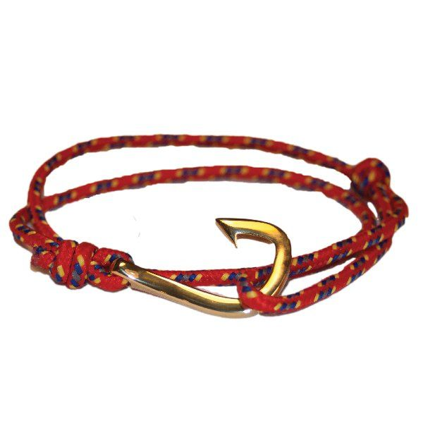 Fish hook Bracelet, Red/Yellow Paracord, Gold Stainless Steel clasp…