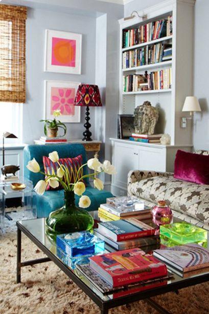 color!Decor, Living Rooms, Dreams, Blue Wall, Livingroom, Interiors Design, Fresh Flower, Colors Living Room, Bright Colors