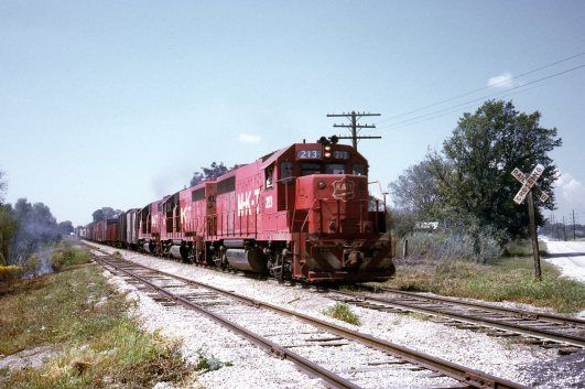 A St. Louis-bound freight charges out of North Clinton, MO in the summer of 1971. Don Kaiser photo.