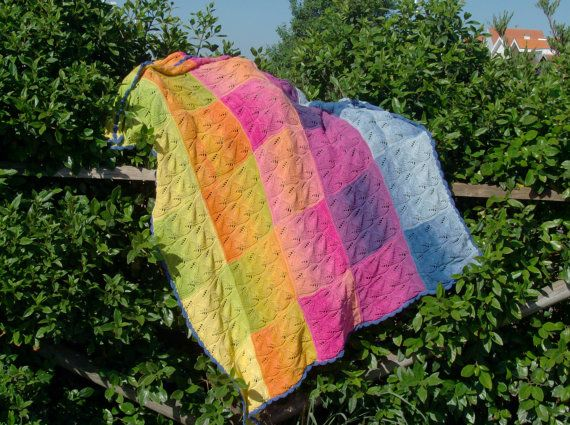 Spring Blossom  Boho knitted cotton quilt-Boho by MysticColours