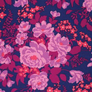 Rose Bouquet in Orchid Rayon Challis Fabric by by adonaldson123