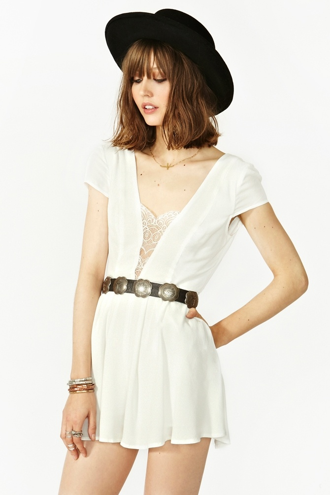 Don't Hold Back Romper in Ivory