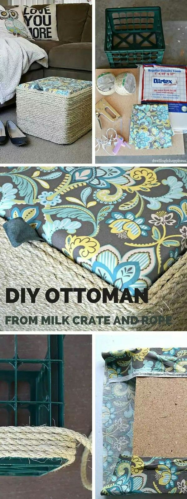 Upcycle. Milk crate and jute into ottoman