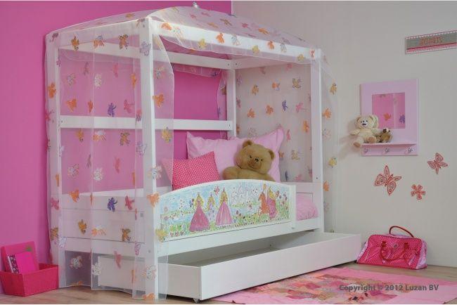 Lifetime Hemelbed - het bedfrontje heeft een prachtige illustratie van prinsessen in roze jurken.