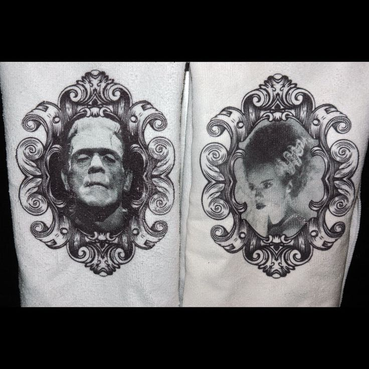 Frankenstein and Bride  Printed Kitchen Hand Towel Set Gothic Home Decor by TheSpiderandFly on Etsy https://www.etsy.com/listing/264860471/frankenstein-and-bride-printed-kitchen