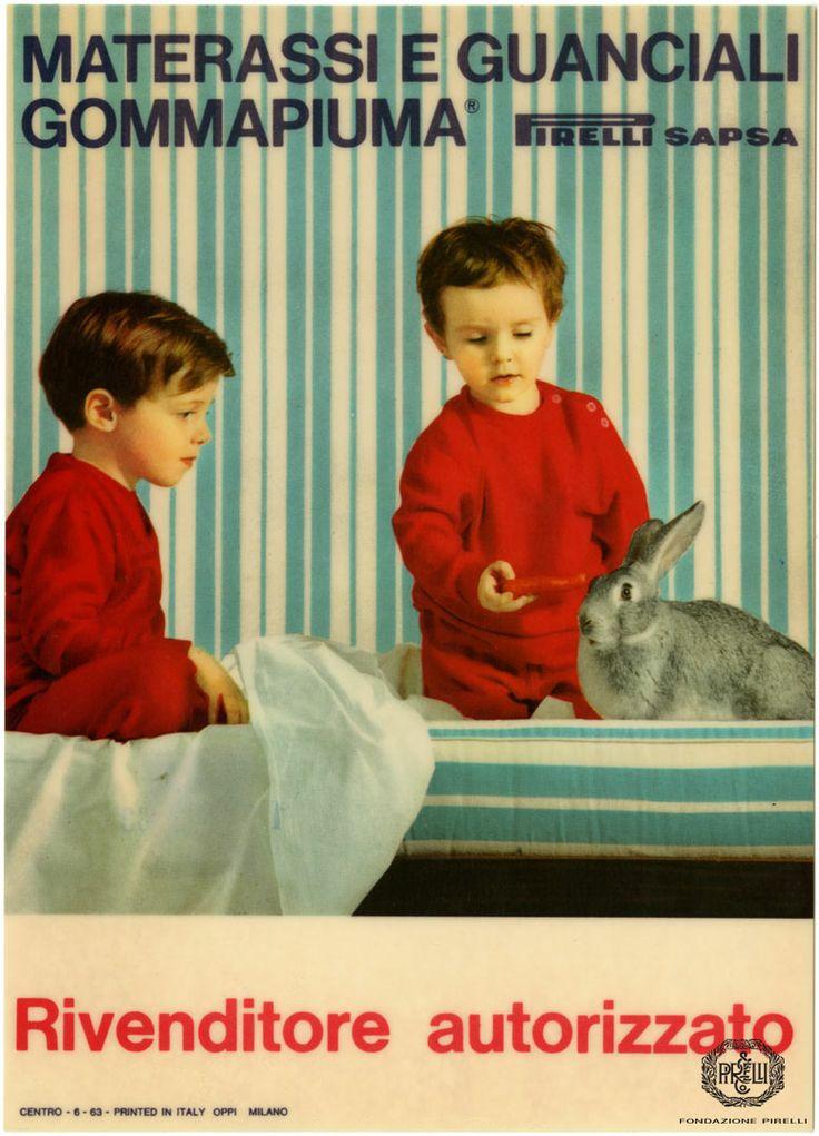 Advertisement for Pirelli mattresses and pillows in foam rubber, 1963 http://www.fondazionepirelli.org