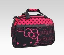 An image of Hello Kitty Overnight Bag: Pink + Black Dot