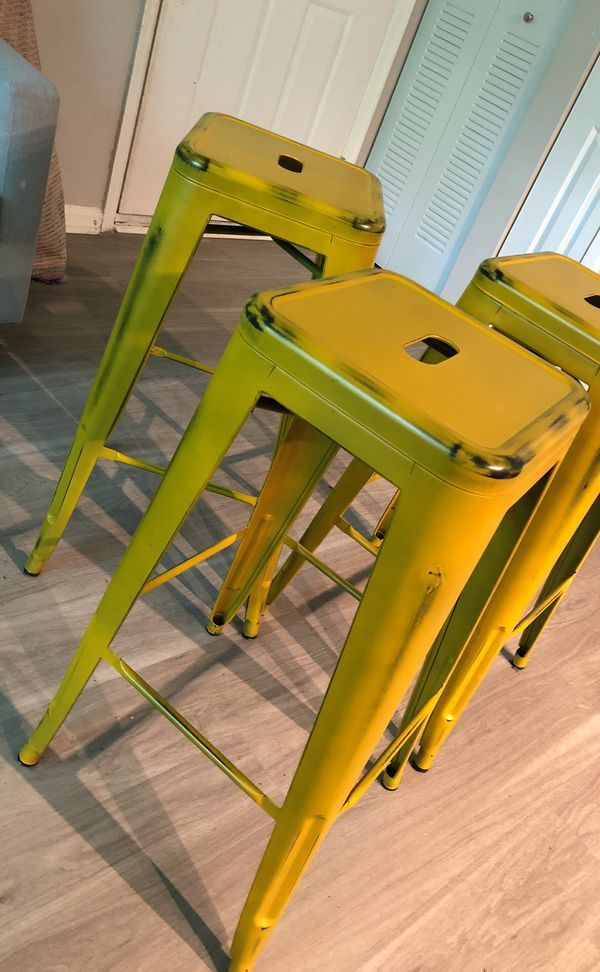 3 Yellow Rustic Bar Stools For Sale In Lawrence Township Nj In 2018