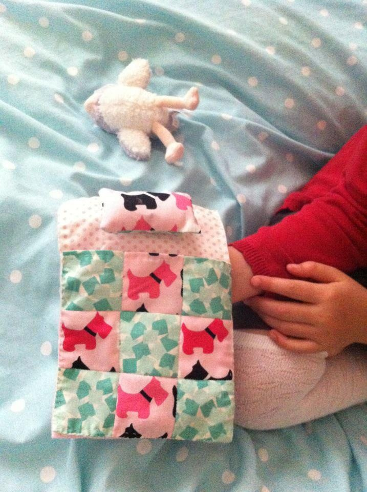 Kids cuddly toy/dolly bed. Teddy or dolly can go all the way into the bed fully lined with padded pillow, no seperate parts all attached as one piece, lovely Xmas present for kids that love their dollies! £13.00 including UK delivery  https://www.facebook.com/HomemadeBuntingAndNurseryBedding