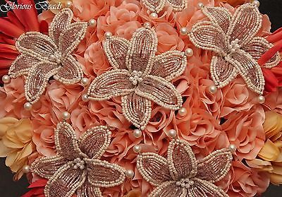 Coral-Blush-Pink-BEADED-LILY-and-Bridal-Wedding-Flower-18-pc-bouquet-package