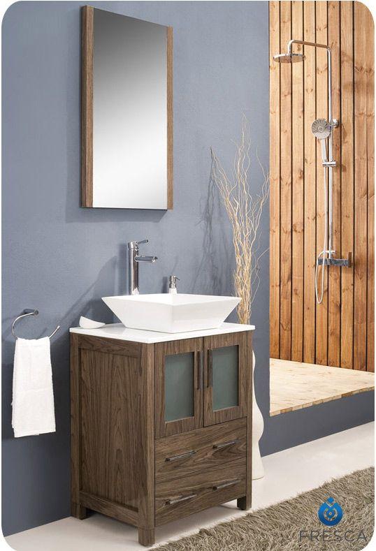 Fresca 24 Walnut Brown Small Vessel Sink Bathroom Vanity W