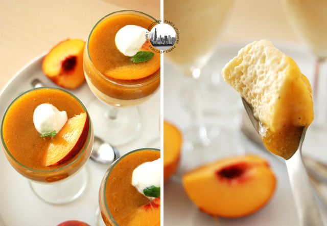 Velvety peach mousse with peach-mint coulis!