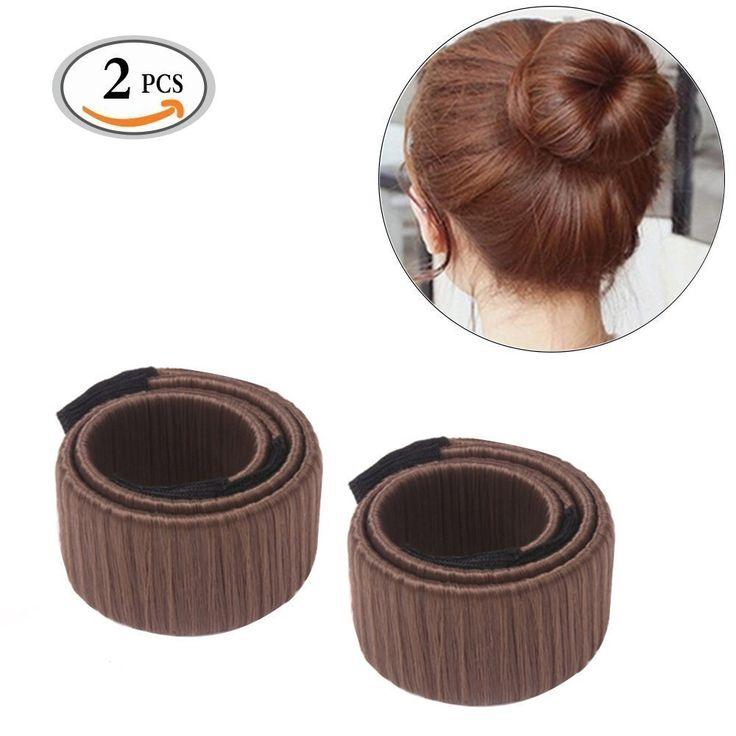 2Pcs Donut Scrunchie Holder Hair Bun Ring Hairdressing Maker Tool for Girls