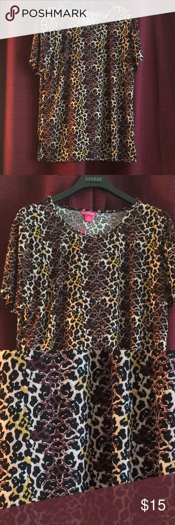 🌹presitage plus style sexy animal print top This is just in brand new animal print top 3/4 sleeves loose fitting light weight good stretch this poly /spandex blend very attractive items for plus size presitageplus  Tops Blouses