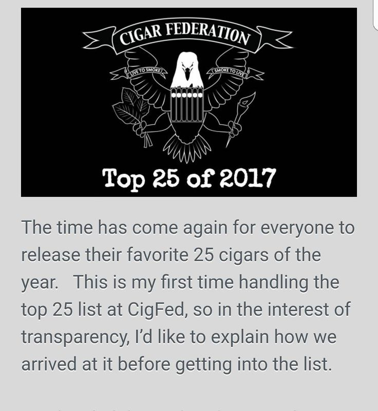 Thank you to the team at Cigar Federation, for another great year and for doing what they do for all of us who enjoy premium cigars.    We honored to be on the Top 25 cigars of the Year list again for 2017.