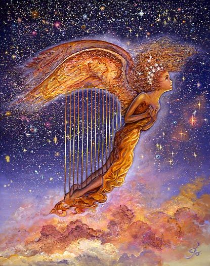Harp Angel Soaring Across A Star-Studded Sky, Leaves A Trail Of Heavenly Music As She Passes By. Above The Clouds She Twists, And While She Turns So High, She Plays Her Haunting Melody, Just For You And I~ Fantasy Painting By Josephine Wall~ ✨   ✨  ✨  ✨