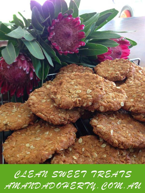 My Clean Sweet Treats Recipe for Anzac Biscuits :) Grab your eBook now: amandadoherty.com.au/shop