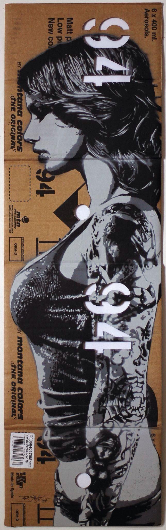 Stencil on cardboard box by Tankpetrol - May 2014...