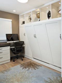 I like how there are shelves above the murphy bed, making the shelving still reach the ceiling.