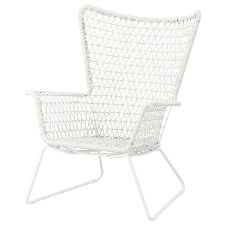 I LOVE this chair.  HÖGSTEN Armchair - IKEA white plastic but looks like rattan or wicker. Would be so cute indoor or outdoor.