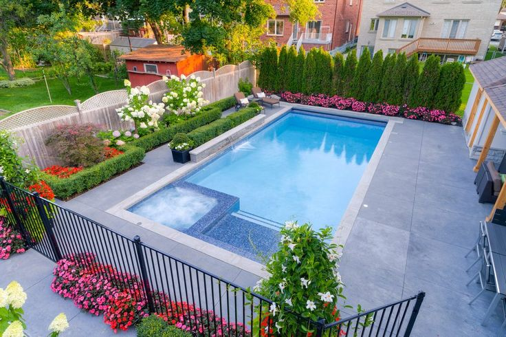 toronto concrete hot tub with solar energy contractors pool transitional and design dark wicker furniture