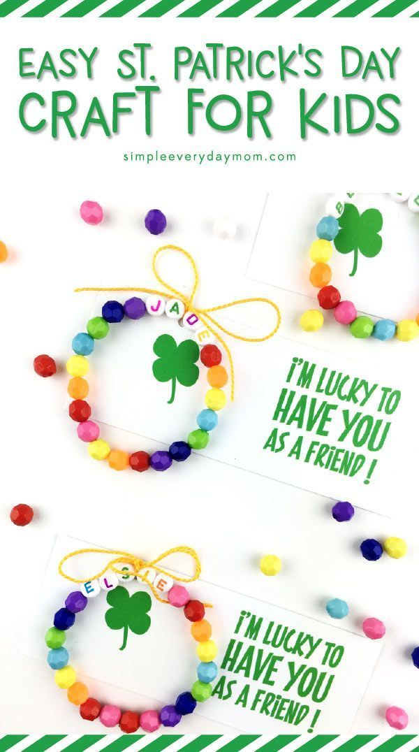 Easy St. Patricks Day Crafts For Kids | Make these fun rainbow bracelets and use the free printable to create St. patrick's day favors for your child to hand out! #stpatricksday #craftsforkids #kidscrafts