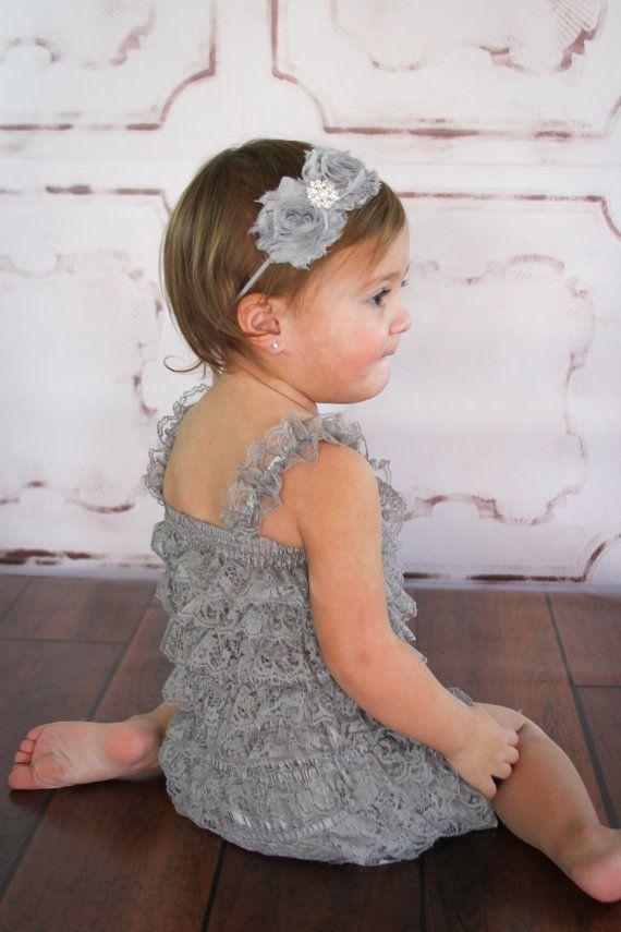 Grey Lace Petti Romper petti romper ruffle romper by ThinkPinkBows