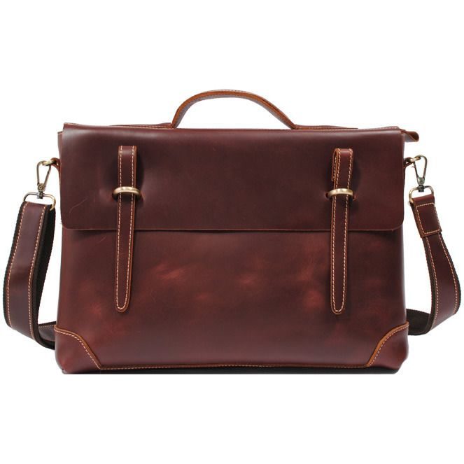 Handmade Genuine Leather Briefcase Laptop Messenger Bag - in brownish red Smooth CowhideLeather Briefcases, Messenger Bags, Laptops Messenger, Laptops Bags, Handmade Genuine, Genuine Leather, Handmade Leather, Briefca Laptops, Leather Bags