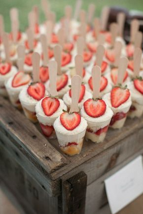 16 Fun Ideas for Bridal Shower Food. Love these Strawberry Shortcake Cups!