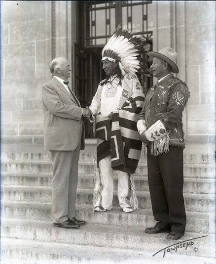 L-R: Nebraska Governor Charles W. Bryan, James Red Cloud (Oglala), Frank C. Goings - 1934 {Note: James Red Cloud was the son of Jack Red Cloud, and the grandson of Red Cloud.}
