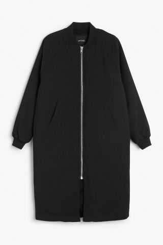 Monki Long bomber jacket in Black