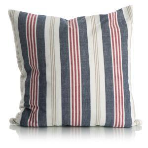 Pute m/dunfyll stripete rød blå og beige 50x50 cm