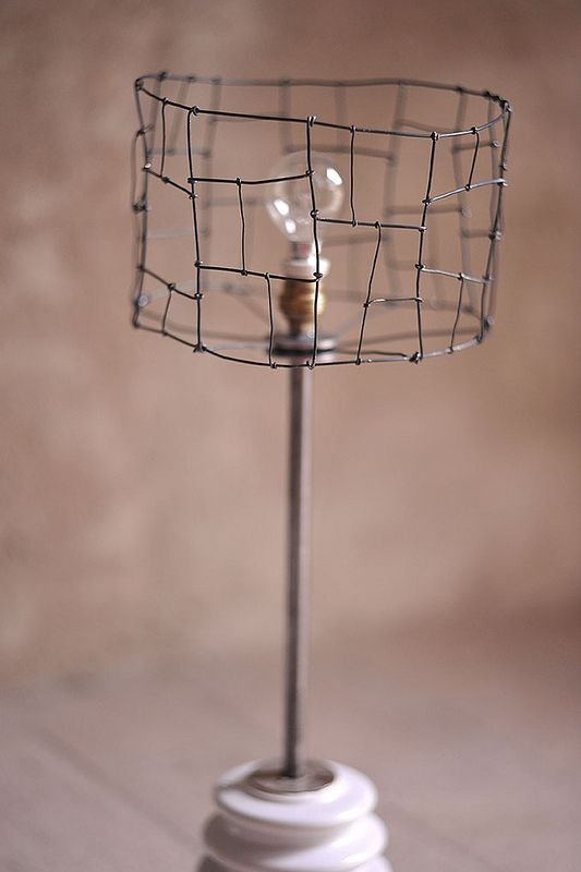photo of a lamp shade made of wire                                                                                                                                                                                 More