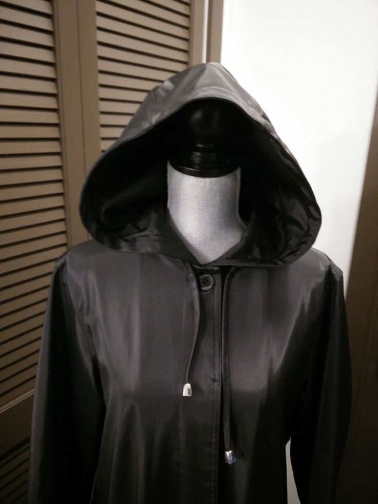 UTEX Long Black Hooded Designer Trench Coat Fully Lined Size M  EUC  (ref#6) #Utex #Trench