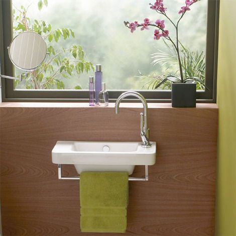 Backup bathroom sink for smaller space, Euro Mono cloakroom basin. Height: 140mm, width: 530mm, depth: 250mm