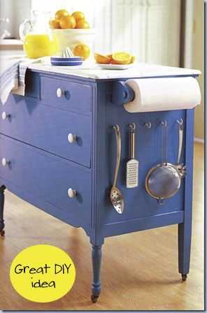 This is adorable Cool island from a repurposed dresser.Even though if your kitchen is small how would you have room to have this out in the middle. Great for small kitchen area.